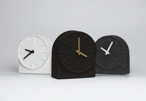 This mantel clock is a reinterpretation of the preceding Felt wall clock;  the different approach of function, material and shape leads to an iconic  clock ...